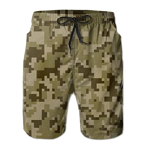 Nacasu Cool Camouflage Cool Camouflage Elastic Tropical Print Beach Shorts Cool Persionality for Men Boys Juniors Board Short with Pockets L