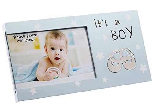Bada Bing Bilderrahmen Fotorahmen It´s A Boy 25 x 13 Geschenk Geburt Junge Liebe Hellblau mit Sternen Edel 07