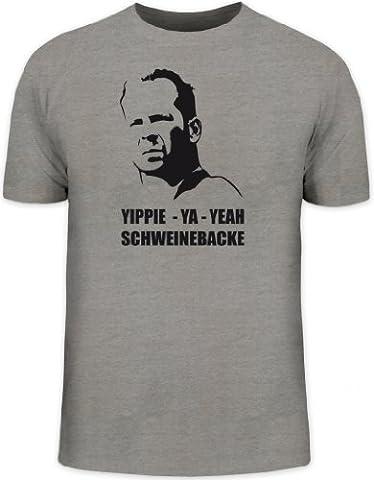 Shirtstreet24, Yippie - Ya - Yeah Schweinebacke, Herren T-Shirt Fun Shirt Funshirt, Größe: