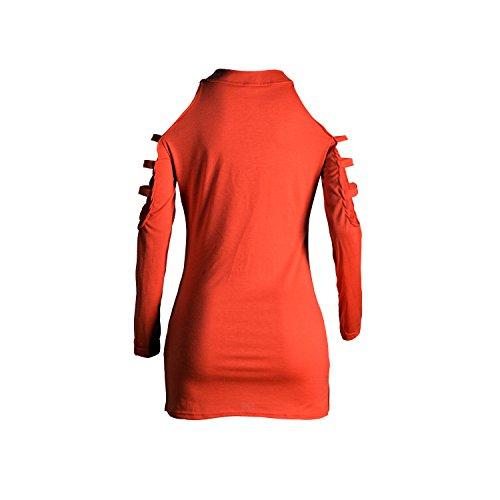 Damen T-shirts IHRKleid® Damen Bluse Schulterfrei Locker Träger Top Oberteil Rot