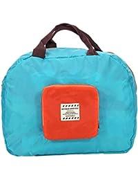 Zibuyu Women Folding Hit Color Handbag Tote Girl Shopping Shoulder Bag(Lake Blue
