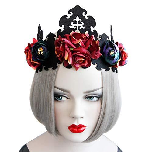 A0127 Dame K?nigin Kopf Kranz Vintage Gothic Schwarze Krone Rosen Tiara Stirnband Halloween Party Maskerade Cosplay