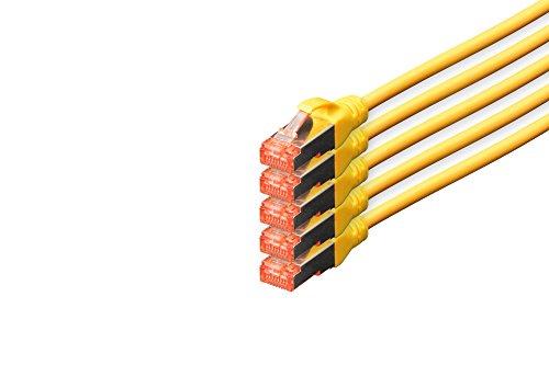 DIGITUS - 5 Stück - CAT 6 S-FTP Patchkabel, 10m, Netzwerk LAN DSL Ethernet Kabel, LSZH, Kupfer, AWG 27/7, Set, Gelb