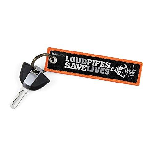 KeyTails Premium-Qualität Motorrad Schlüsselanhänger Schlüsselring Kratzfest Ideal für Ihr Motorrad, Auto [Loud Pipes Save Lives] (Harley Davidson Aufkleber Orange)