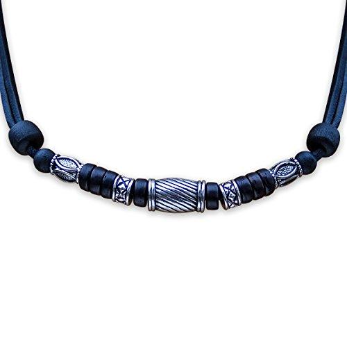 HANA LIMA ® Halskette ohne Anhänger Surferkette Lederkette Herrenkette Edelstahl -