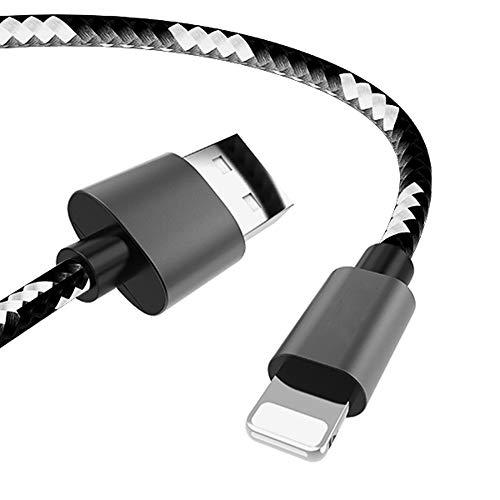 CCSHW USB-Kabel 2.4A Ladekabel für iPhone 8 7 6S 5S Plus Handy Data Sync Charger Line Schnellladung kompakt und leicht zu tragen,Schwarz