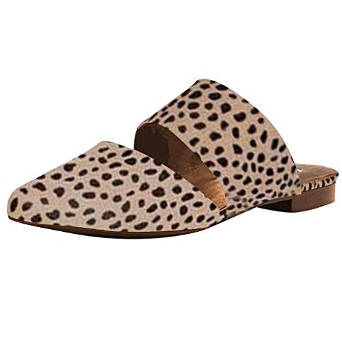 Lilicat Sandali Donna Eleganti Spiaggia Casuale Infradito Shoes Estivi Tacco Basso Ciabatte Flat Estate Scarpe da Punta Vintage Leopardate Scarpe A Punta Sandali (Beige,41 EU)