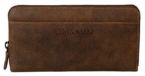 Brown Bear Geldbörse Damen Leder Braun Vintage RFID Schutz & Reißverschluss umlaufend hochwertig