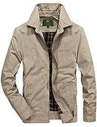 Karmder Cappotto di Kaki di Primavera Verde Casual Autunno 100% Cotone  Cappotto Verde Militare di 7c635b4f692