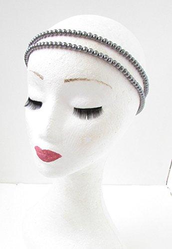 Starcrossed Beauty Bandeau de perles en argent styles années 20 Gatsby le magnifique Gris anthracite