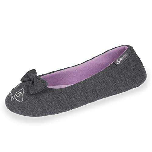Isotoner Chaussons Ballerines Femme Broderie Chat,Gris,37/38 EU