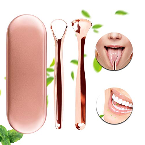 Tongue Scraper Cleaner Surgical Grade Stainless Steel Xpassion Health Copper Tongue Scrapers Oral Cleaner Set with Carrying Case for Dental Hygiene Care Fresh Breath