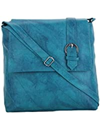 CFI Turquoise Synthetic Leather Sling Bag For Women / Girls