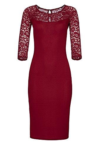 Laeticia Dreams Damen Kleid aus Spitze Langarm Wadenlang S M L XL XXL XXXL, Farbe:Weinrot Modell 2017;Größe:40