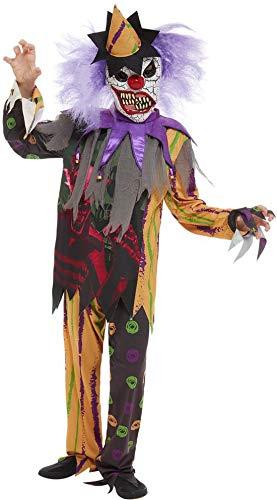 Fancy Ole - Jungen Boy Kinder Scary Horror Clown Kostüm, Hose Top und Maske, perfekt für Halloween Karneval und Fasching, 122-134, Schwarz (Kinder-boys Halloween-kostüme Scary Für)
