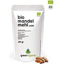 Bio Mandelmehl, Premium, Weiss, Low-Carb, Glutenfrei, Vegan, Entölt, Proteinreich, Ballaststoffreich, Paleo Superfood, Nachhaltig und Fair angebaut, 400g