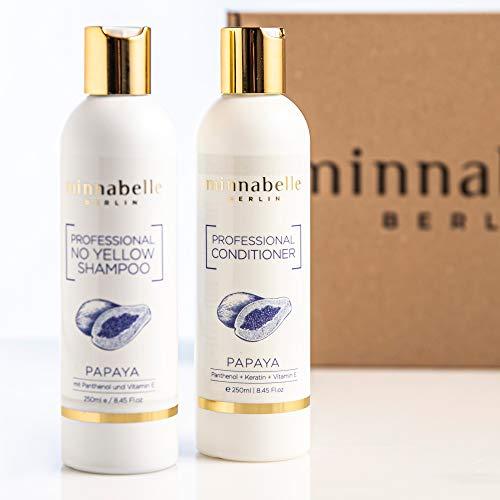 minnabelle Berlin Professional Haarpflege Geschenk-Set I 1x NoYellow Shampoo + 1x Conditioner mit Papaya Duft, Phantenol, Keratin und Vitamin E -
