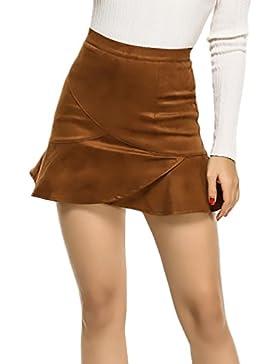 Faldas Mujer Elegantes Vintage Gamuza Faldas Cortas Color Sólido Talle Alto Con Volantes Una Línea Mini Falda...