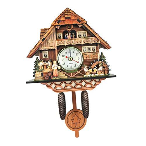 non-brand MagiDeal Holz Kuckucksuhr Kuckuck Uhr Schwarzwald Wanduhr Ornament für Wohnzimmer Kinderzimmer - K