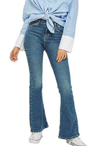 Las Mujer Classico Vintage Denim Jeans De Cintura Alta Pantalones De Campana De Fondo Azul S