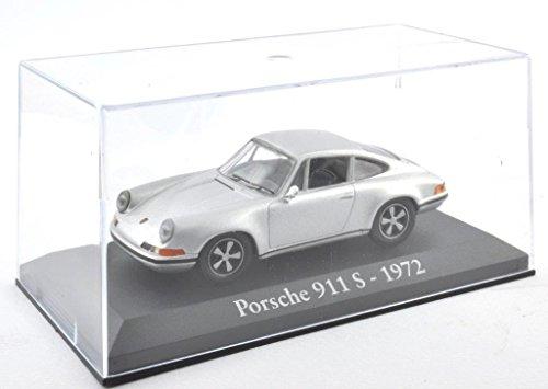 DieCast Metall Miniaturmodelle Modellauto 1:43 Oldtimer Klassiker Porsche 911 S Modell silber 1972 Altaya IXO inklusive Kunststoff Vitrine