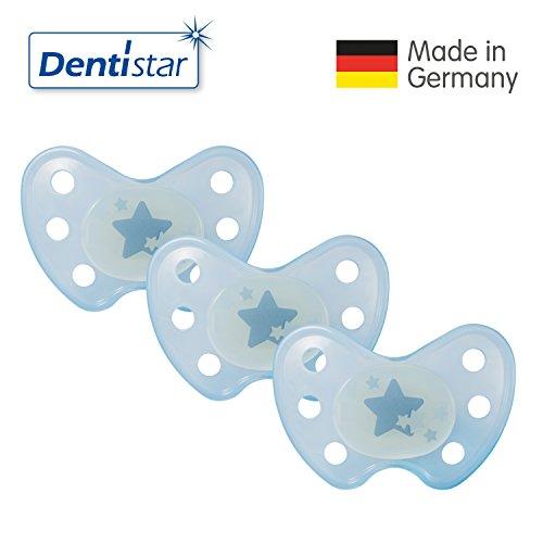 Dentistar® Night Silikon-Schnuller - Größe 3, ab 14 Monaten – Nacht-Leuchtschnuller, Nuckel leuchtend, Zahnfreundlich, Sterne blau