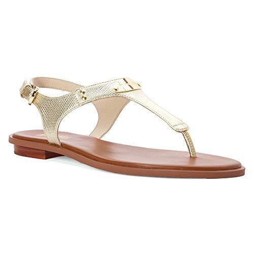 MICHAEL Michael Kors MK Plate Flat Thong Sandals (8.5 M US, Pale Gold) (Flats Kors Gold Michael)