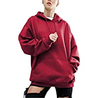 89755b5185e1 BYD Women Hoodie Sweatshirt Long Sleeve Batwing Blouse Hooded Baggy Shirts  Pullover Tops With Big Pocket