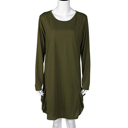 robe femme, Transer ® Femmes robe lâche avec grande poche O-cou à manches longues Ruffles Mini robe armée verte