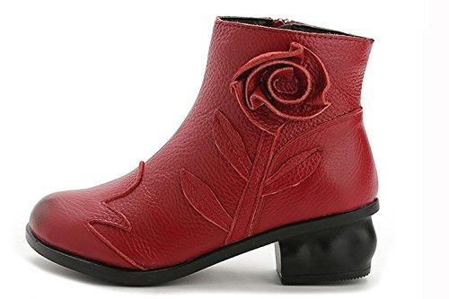 Damen Stiefel Mit Kurz Absatz Lederoptik Mit Blumen Mädchen Schuhe Rot
