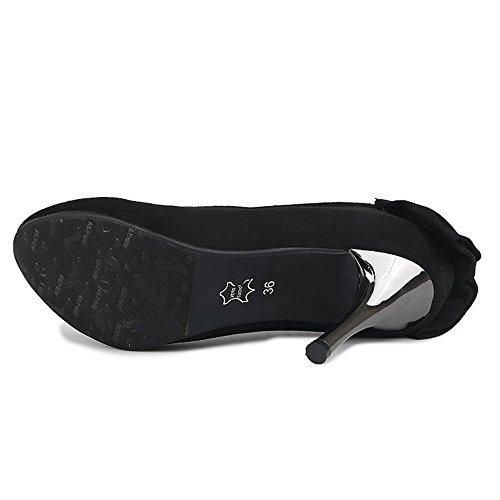 COOLCEPT Femmes Mode Talons Aiguille Escarpins Slip on Chaussures Thin High Heels Noir