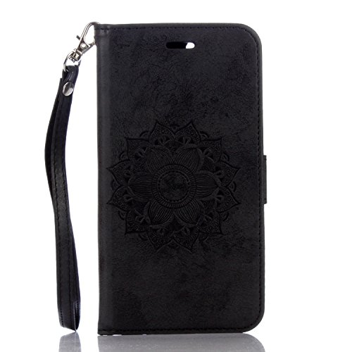 Für IPhone 7 Plus Case, Mandala Blume geprägtes Muster Schutzhülle Folio Flip Stand Brieftasche Case Beutel mit Lanyard & Halter & Card Cash Slots ( Color : Rose Gold ) Black