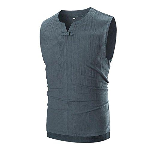 VEMOW Summer Fashion Herren Casual Außerhalb Solid V-Ausschnitt Sleeveless T-Shirt Top Weste Bluse T-Shirts Pullover(Grau, EU-56/CN-2XL)