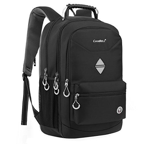 CoolBell 18,4 Zoll Rucksack Laptop Tasche Reise Rucksack/wasserdicht Schulrucksack Wandern Knapsack Backpack/Schützende Tagesrucksack passen 15-17,3 Zoll Laptop für MacBook/Herren(Schwarz)