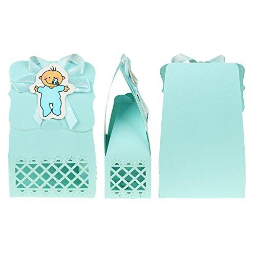 (vlovelife Baby Dusche Candy Box Pfiffiges Geschenk Boxen für Baby-Dusche Dekorationen Jungen Mädchen Geburtstag Party Set Event Party Supplies–12Stück, plastik, Blue Baby - For Boy, 2.5'' x 1.4'' x 4.4')