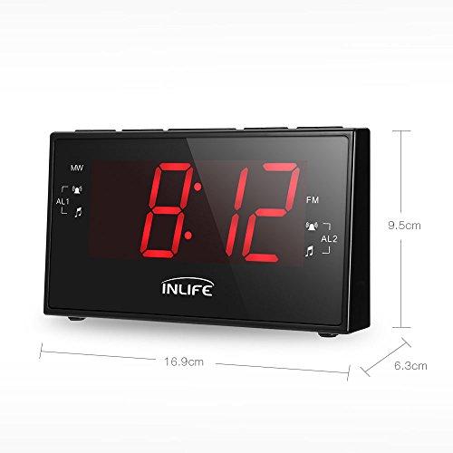 INLIFE Radio Reloj Digital con Gran Pantalla LCD de 1 8 pulgadas Función de Radio FM / AM Temporizador Alarma Dual
