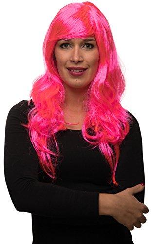 Balinco Sexy Langhaar Damen Frauen Perücke lockig / gewellt für Fasching Karneval Motto Party - 13 Farben (Pink)