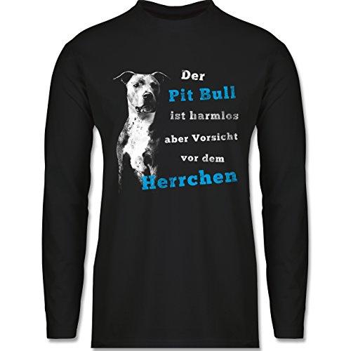 Shirtracer Hunde - der Pit Bull ist Harmlos aber Vorsicht vor dem Herrchen - Herren Langarmshirt Schwarz