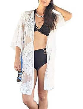 Donne Kimono Cardigan Camicia Camicetta Tops Ricamo di Pizzo Copricostumi e Parei della Spiaggia Cover Up Bianco