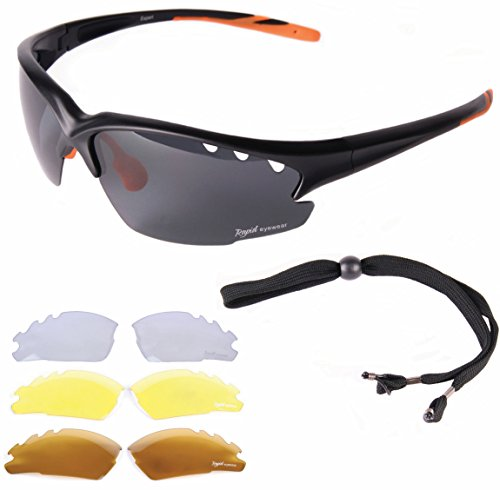 Rapid Eyewear fahradbrille: Fusion Schwarz POLARISIERTE RADBRILLE MIT WECHSELGLÄSER Auch Laufenbrille, Triathlonbrille etc. Radsport Sonnenbrille mit Spiegelglas. UV400 Schutz Brille Für Fahrrad