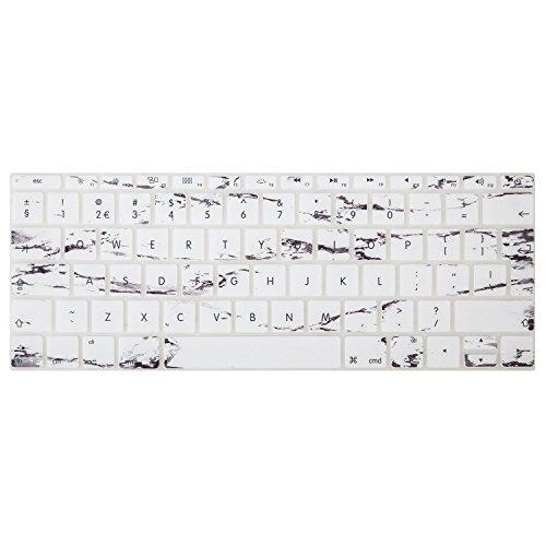 MOSISO MacBook Tastaturschutz für neueste MacBook Pro 13 Zoll mit Retina Display A1708 (2017 & 2016 Freisetzung, No Touch Bar) und MacBook 12 Zoll mit Retina Display A1534 (Neueste Version 2017/2016/2015), das English Alphabet auf Tastatur Schutz, Hauchdünner Tastatur Schutzfolie Cover Haut, Weiß Marmor (Tastatur Skins Für Macbook Air)