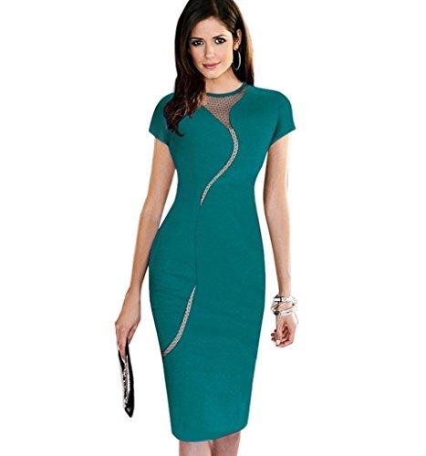 Minetom Donne Vestito Elegante Vestito Matita Sexy Mesh Clubwear Cocktail Vestito Cerniera Di Chiusura Verde 46