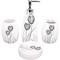 Miamour 4 Piece Ceramic Bathroom Accessory Set, White (MMCBSHP001007)