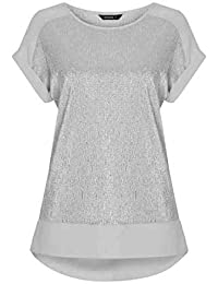 be85f060f7bad6 Roman Originals Women Shimmer Chiffon Hem Top - Ladies Smart Casual Evening  Party Round Neck Short Sleeves Glitter Metallic Party…