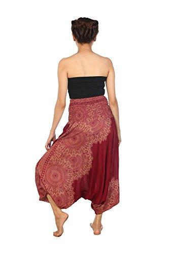 Lofbaz Donna Tuta Harem Boemo Harem pantalon Hippie Yoga estate Pantaloni Peacock Borgogna