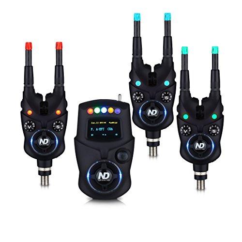 New Direction Tackle K9 Bluetooth Funk Bissanzeiger Set (3x K9, 1x R9 Mini-Receiver,1x Plastikbox, 6x Leuchten (R,G,B))