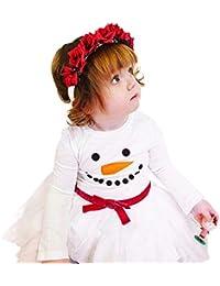 beautyjourney Vestido con Estampado de muñeco de Nieve de Manga Larga para niña Ropa de Navidad para niños Princesa Tutu Falda Plisada Ropa de bebé recién Nacido