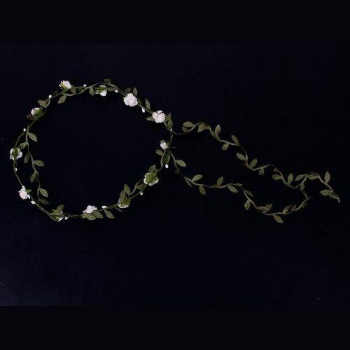 Guirlande Couronne Auréole Florale de Branche de Fleurs Roses pour Festival Mariage Outil de Photographie Taille Adulte (Blanc + vert)