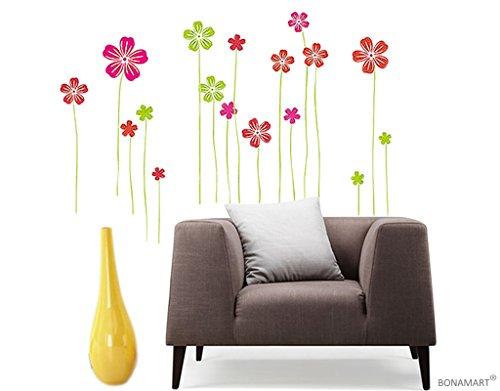 Preisvergleich Produktbild BONAMART ® Bunt Blumen Wandtattoo Kinderzimmer Schlafzimmer Wohnzimmer DM57-0061
