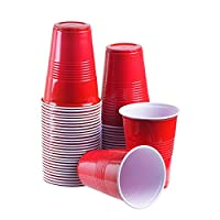 TashiBox 16 oz disposable plastic party cups, 150 count Red